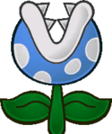 Sprite of a Frost Piranha from Super Paper Mario.