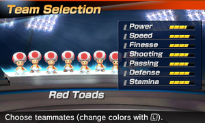 Red Toads' stats in the soccer portion of Mario Sports Superstars