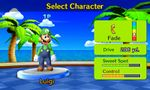 Luigi's stats in Mario Golf: World Tour.