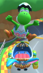 Yoshi (Egg Hunt) performing a trick in Mario Kart Tour.