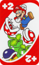 The Red Draw 2 card from the UNO Super Mario deck (featuring Mario, Piranha Plants, and a Buzzy Beetle)