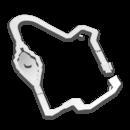 Map of Thwomp Ruins in Mario Kart 8 Deluxe.