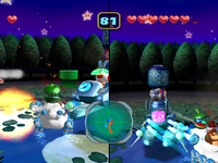 Screenshot of the duel in Moonlit Midnight from Mario Party 5