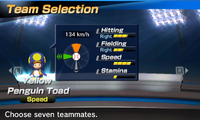 Yellow Penguin Toad's stats in the baseball portion of Mario Sports Superstars