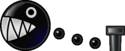 Sprite of a Chain Chomp from Super Paper Mario.