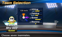 Yellow Shy Guy's stats in the baseball portion of Mario Sports Superstars