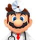 Sprite of Dr. Mario from Dr. Mario World