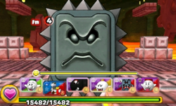 Screenshot of World 7-Castle, from Puzzle & Dragons: Super Mario Bros. Edition.