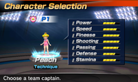 Princess Peach's stats in the soccer portion of Mario Sports Superstars