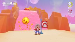 A screenshot of the Top of the Peak Climb in Super Mario Odyssey