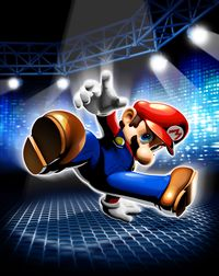 The main artwork of Dance Dance Revolution: Mario Mix, used for the front box art.