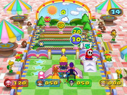 Wario in Dart Attack from Mario Party 7