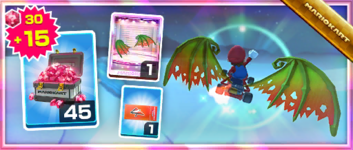 The Dragon Wings Pack from the Sunset Tour in Mario Kart Tour