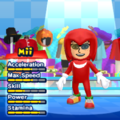 Knuckles the Echidna Mii Costume in the game Mario & Sonic at the London 2012 Olympic Games for the Wii.