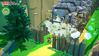 Mario running away from the Thwomps in Overlook Mountain in Paper Mario: The Origami King