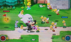 """A screenshot of the Minion Quest: The Search for Bowser level, """"Shell Brigade, Move Out!""""."""