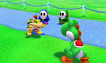 A pair of Shy Guys watch Bowser Jr. and Yoshi challenge each other to an event