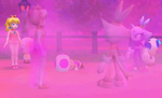 Three Toads, Peach, and Blaze are confronted by Fog Imposters
