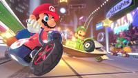 Mario and Luigi driving through the Electrodrome in Mario Kart 8