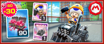 The Team Mario Builder Toad Pack from the Mario vs. Peach Tour in Mario Kart Tour