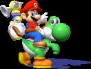 Mario rides on Yoshi in Super Mario Sunshine.