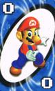 The Blue Zero card from the Nintendo UNO deck (featuring Mario)