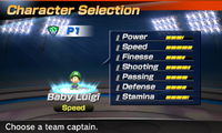 Baby Luigi's stats in the soccer portion of Mario Sports Superstars