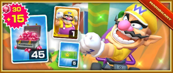 The Wario Pack from the 2019 Winter Tour in Mario Kart Tour