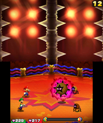 Mario and Luigi battling Dark Star X in the the Gauntlet from Mario & Luigi: Bowser's Inside Story (left) and Mario & Luigi: Bowser's Inside Story + Bowser Jr.'s Journey (right).