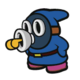 The Blue Whistle Snifit sprite from Paper Mario: Color Splash.