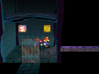 Mario next to the Shine Sprite halfway from the outdoor pipe to the inside of Creepy Steeple in Paper Mario: The Thousand-Year Door.