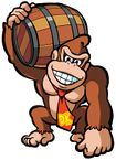 Artwork of Donkey Kong holding a Barrel in Mario vs. Donkey Kong. This artwork was reused for the sequel, Mario vs. Donkey Kong 2: March of the Minis