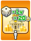 A Venture Card from Fortune Street indicating bonus Gold based on a die roll and the player's level