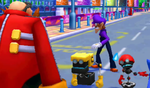 Dr. Eggman challenges Waluigi to face off against Metal Sonic while Orbot and Cubot look uneasy