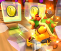 The icon of the Peachette Cup challenge from the Valentine's Tour and the Bowser Jr. Cup challenge from the 1st Anniversary Tour in Mario Kart Tour