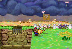 Image of Mario revealing a hidden ? Block in Flower Fields, in Paper Mario.