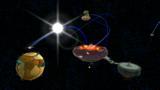 "A screenshot of Boss Blitz Galaxy during the ""Throwback Throwdown"" mission from Super Mario Galaxy 2."