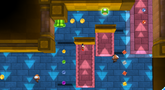 Mario near a Warp Pipe, Paragoomba, and 1-Up Mushroom in the Upside Dizzy Galaxy