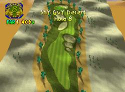 Hole 8 of Shy Guy Desert from Mario Golf