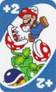 The Blue Draw 2 card from the UNO Super Mario deck (featuring Mario, Piranha Plants, and a Buzzy Beetle)
