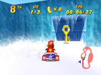 The Wish Key location of Snowflake Mountain in Diddy Kong Racing.
