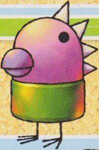 Artwork of a Daruma Otoshi-kun from Yoshi Topsy-Turvy