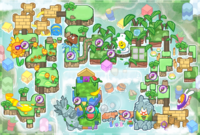 Strategic map (left) and challenge map (right) of Ancient Gardens