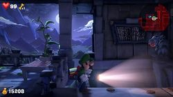 Luigi heading toward the red Gem on the 501 Balcony.