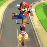 Mario performing a trick in Mario Kart 8.