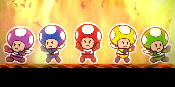 Banner for a Play Nintendo opinion poll on the Rescue Squad V from Paper Mario: Color Splash. Original filename: <tt>2x1_PMCSpoll01Rescue5v01.0290fa98.jpg</tt>
