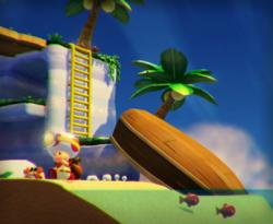 The illustration of Piranha Creeper Cove in Captain Toad: Treasure Tracker.