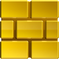 Artwork of a Gold Block from New Super Mario Bros. 2