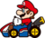 A stamp of Mario in Mario Kart 8 Deluxe.