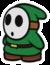 A green Shy Guy in Paper Mario: Color Splash.